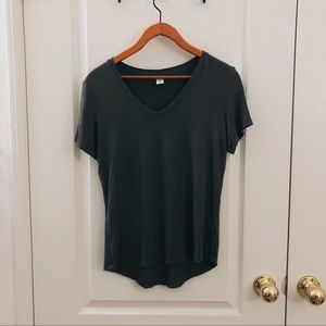 Olive green basic vneck tee